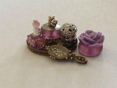 Dollhouse Miniature Vanity Tray Perfume and Powder | eBay