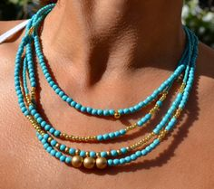 RESERVED FOR MEGAN-Four Strand, Boho, Asymmetrical Necklace Turquoise and Gold, Bohemian
