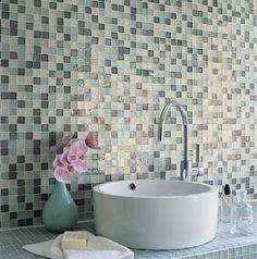 40 blue glass mosaic bathroom tiles tile ideas and pictures 2019 Mosaic Bathroom, Small Bathroom, White Bathroom, Mosaic Glass, Mosaic Tiles, Tiling, Mosaic Wall, Blue Mosaic, Glass Art