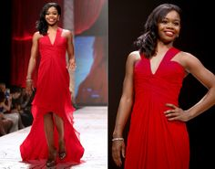 Olympic gymnast Gabby Douglas always has gold medal-winning style, so it only makes sense that she was invited to walk in this year's Red Dress Collection Fashion Show. The 17-year-old wore a gown by designer Pamella Roland.