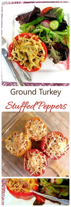 These Ground Turkey Stuffed Peppers are the ultimate healthy comfort food recipe.  They use jasmine rice and coconut as a filler and taste just amazing!