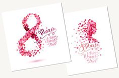 Two 8 March - Happy Women's day cards with pink rose petals and hand written congratulation inscription. You will receive: - 2 EPS files with cards. Women's Day 8 March, 8th Of March, Happy Woman Day, Happy Women, Happy Girls, Women's Day Cards, 8 Mars, Day Wishes, Creative Sketches