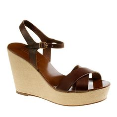 I love wedges in the summer. Perfect little platforms for the drapey, floaty dresses I'm drawn to. Lila leather wedges, for J Crew.