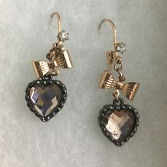 Betsey Johnson earrings Betsy Johnson gold and black heart earrings with bow and…