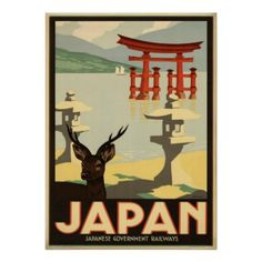 Vintage Japan Sika DeerTorii Gate Travel Poster - diy cyo customize create your own personalize