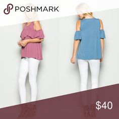 """Mauve Cold Shoulder Ruffle Top Only one of each size available! Length: Approximately 26.5"""". Bust laid flat: Small-17"""", Medium-18"""", Large-19"""". Tops Blouses"""