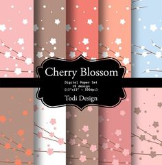 Cherry Blossom  Spring Digital Paper Set by todidesign on Etsy, $4.00