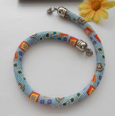 Beaded crochet Necklace- geometry- Häkelkette  von Inspiration auf DaWanda.com