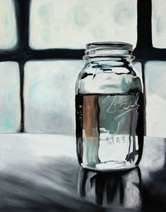 I am always attracted by glass in paintings, this still life by Briana Taylor is really good, so little colour but such reflection and effecting of glass and light...♥♥♥