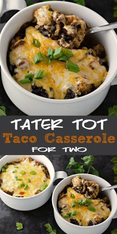 This homemade Taco Tater Tot Casserole for two features homemade taco seasoning with ground beef, black beans, tater tots, and enchilada sauce topped with gooey melted Colby Jack cheese. You may already have most of the seasonings in your pantry or spice rack. This dish makes two very generous individual servings and is quite filling! Try it for lunch, dinner, or a romantic date night meal. #TaterTot #Casserole #TacoCasserole #Taco #DinnerForTwo #LunchForTwo #RecipesForTwo #beef #GroundBeef #Mex Mug Recipes, Casserole Recipes, Beef Recipes, Cooking Recipes, Pasta Recipes, Meatloaf Recipes, Single Serve Meals, Single Serving Recipes, Cooking For One