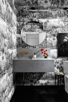 tiny powder room wallpaper ideas // black and white desert toile wallpaper Decor, Bathroom Colors, Vibrant Bathroom, Bathroom Decor, Funky Bathroom, Amazing Bathrooms, Powder Room Wallpaper, Home Decor, Best Bathroom Colors