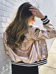 bomber jackets, rose gold bomber jackets, rose gold, trendy bomber jackets, fashionable jackets, how to style your bomber jacket, what to wear with your bomber jacket, outfit inspiration, fashion inspiration, how to style your high waist jeans, date night, girls night,