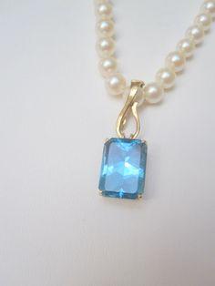 Blue Topaz Pearl Enhancer / Pendant by PoppyLesti on Etsy, $175.00