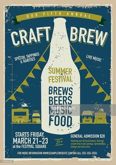 Vector illustration of a Craft beer Festival Poster design template. - Vector illustration of a Craft beer Festival Poster design template.