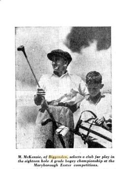 1936 M McKenzie of Biggenden selects a club for play in the 18 hole A grade bogey championship at the Maryborough Easter Competitions