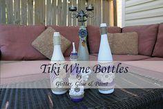 Tiki Wine Bottles - Glitter Glue & Paint