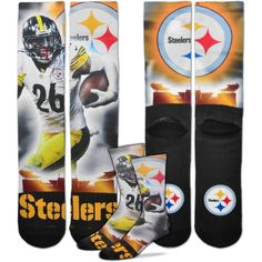 For Bare Feet Pittsburgh Le'Veon Bell Player Crew Socks, Men's, Size: Medium, Team