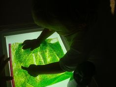 Make a gel bag to place on a light box. Great for sensory exploration, cause and effect, and fine motor development.