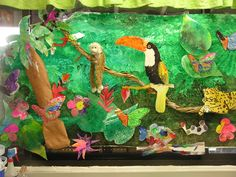Rain forest week in PreK. My kids used real palm fronds to make the green background and then painted the rainforest animals. We also used the stuffed monkey for added dimension. Just beautiful!