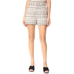 STYLESTALKER Willow Shorts (190 CAD) ❤ liked on Polyvore featuring shorts, stripe, stripe shorts, zipper shorts, stylestalker, frayed shorts and embroidered shorts
