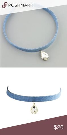 Blue Denim Choker Necklace with Crystal Pendant Trendy & Stylish. Blue denim choker necklace with crystal Pendant. Lobster claw clasp + extension. Bundle & Save. Free gift w purchase Jewelry Necklaces
