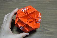 origami  おりがみ 花のくす玉の作り方  Kusudama flor