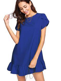 1e2a26924b709 Verdusa Women's Round Neck Petal Short Sleeve Ruffle Hem Tunic Dress Blue S  at Amazon Women's Clothing store: