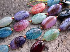 Colorful Agate Flat Oval Beads