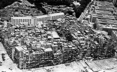 An aerial view of the Kowloon Walled City in 1987. Photo: SCMP