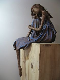 The Dreamer is one of my larger sculptures measuring 86cm if she were standing. Suitable for either indoors or out. Made from bronze