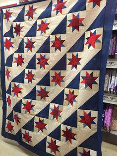Pinwheel Quilt Pattern, Star Quilt Patterns, Star Quilt Blocks, Star Quilts, American Flag Quilt, Sewing Circles, Quilt Of Valor, Patriotic Quilts, Tablerunners