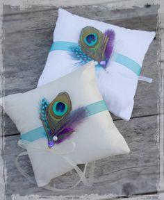 Peacock Wedding Ring Bearer Pillow  Elegant by LuxeAndLuster