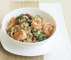 "Lemon Barley ""Risotto"" with Shrimp, Bacon & Spinach Recipe"