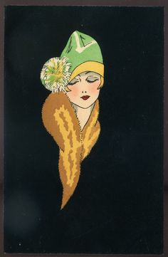 Art Deco Postcard. High levels of contrast. Bold, black background brings woman in fur coat and green hat to life. Curved lines of the fur and slight tilt of the head create the impression of shoulders and a body.