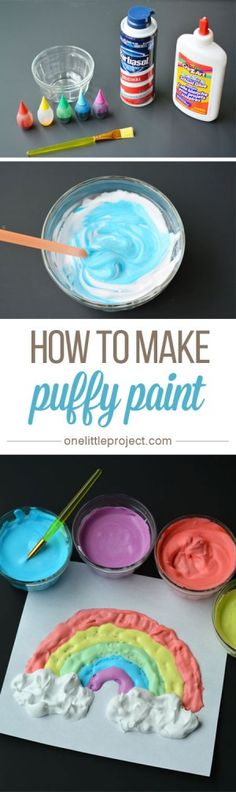 How to Make Puffy Paint & This was such a fun and EASY craft for the kids to do!& How to Make Puffy Paint & This was such a fun and EASY craft for the kids to do! They loved the texture and had so much fun mixing everything together! Ideias Diy, Crafty Kids, Preschool Art, Easy Preschool Crafts, Toddler Crafts, Easy Crafts For Toddlers, Creative Activities For Toddlers, At Home Crafts For Kids, Rainy Day Activities For Kids