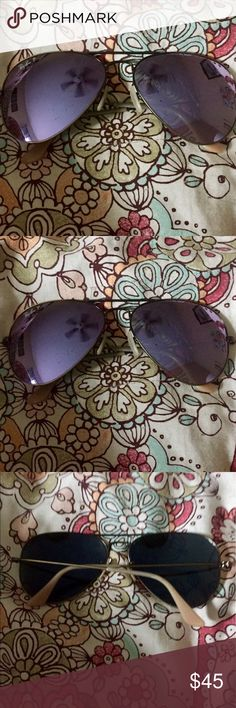 Ray Ban Lilac Mirrored Polarized Aviators Ray Ban Lilac Mirrored Polarized Aviators, some scratching on one lens, still Great Condition!! Ray-Ban Accessories Sunglasses
