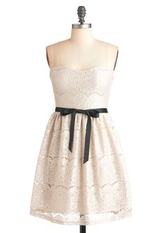 Exquisite Visit Dress - Short, Cream, Black, Lace, Formal, Wedding, Party, A-line, Strapless, Belted, French / Victorian