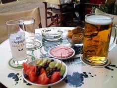 Ouzo, beer, mezes