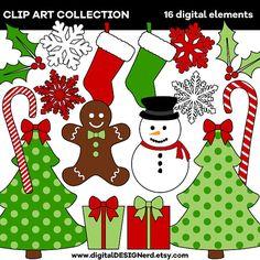 Christmas Clip Art - Red & Green (Set of 16 Digital Scrapbook Elements) Winter Holiday Seasonal - Snowman - Stocking - Present - Candy Cane