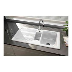 Buy the Butler & Rose 1000 Gourmet Bowl White Ceramic Kitchen Sink with Reversible Drainer & Waste Kit from Tap Warehouse and receive huge savings off the RRP White Ceramic Kitchen Sink, Small Kitchen Sink, Modern Kitchen Sinks, Single Bowl Kitchen Sink, Kitchen Taps, Ceramic Sink, Ceramic Bowls, Kitchen Living, Modern Traditional