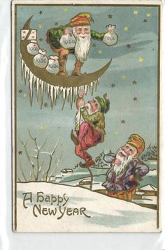 Gnome,Dwarf,Dwarfs with Money Bags on the Moon,Embossed,Unused,Old Postcard