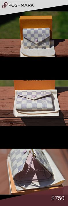 Louis Vuitton VICTORINE WALLET Damier Azur Louis Vuitton VICTORINE WALLET Damier Azur  100% Authentic   Includes receipt copy   - 12 x 9,5 x 2,5 cm - 4.7 x 3.7 x 1.0 inches - Damier Azur coated canvas exterior - Cowhide leather lining - Cowhide leather trim - Shiny gold colored metallic pieces  - 6 credit card slots - 1 Zipped coin pocket - 1 Bill pocket - 2 flat pockets - Press-stud closing Louis Vuitton Bags Wallets
