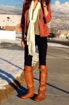 tan boots, black skinnies, & a brick blazer