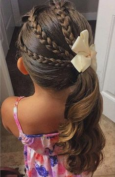 triple braid and pony little girl hairstyle, for natural hair i would have the 3 braids lead into a large braid or rope twist, instead of a free ponytail #girlhairstylesforlonghair
