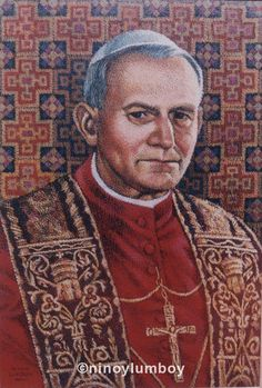 Pope John Paul II, by Ninoy Lumboy.  A commissioned painting, given as a gift to the pope by the Philippine delegation at the beatification of Mother Theresa, during their audience with him at the Vatican.