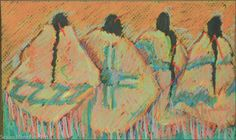 Original Pastel by S. Toombs, The Four, 14X8 Unmatted