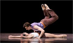 "HOT! Ariana Lallone & Stanko Milov performing in the Pacific Northwest Ballet's ""All Tharp,"" photo by Angela Sterling"