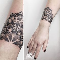 faszinierendes Mandala Tattoo wie Armband am Handgelenk