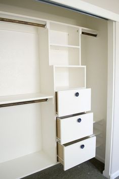 DIY Closet Kit for Under $50 I could put in shelves like these inbetween our his/hers closets for socks and stuff. I would give it a nice custom look without all the money too.