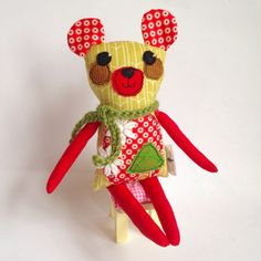 Items similar to Mini Bear Critter - handmade cloth doll - stuffed animal on Etsy Handmade Dolls, Handmade Gifts, Doll Clothes, Bear, Christmas Ornaments, Holiday Decor, Mini, Unique Jewelry, Animals